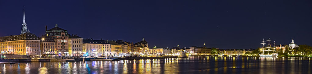 Night panorama Stockholm